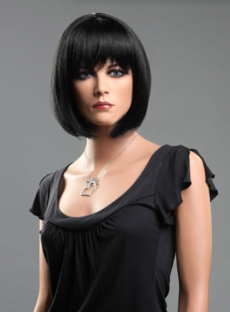 Bob Hairstyle Straight Lace Front Wig with Full Bangs 100% Human Hair(Free Shipping)