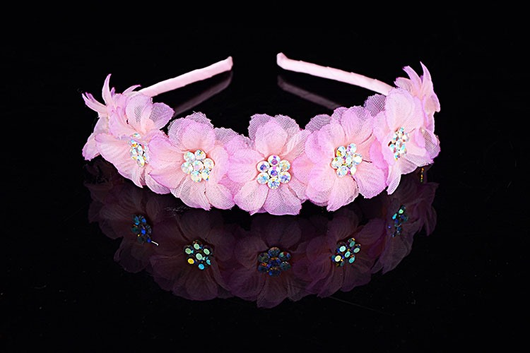 Pink Alloy with Rhinestone Pink Flower Hairband