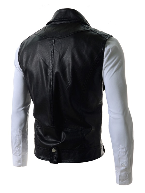 Detachable Sleeves Lapel Zip-Front Long Sleeve PU Men's Jacket