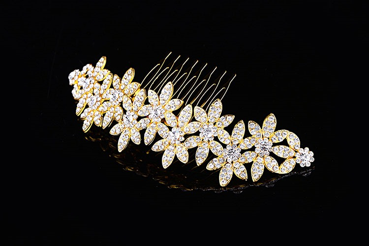 Floral Shaped Full Rhinestone Wedding Comb