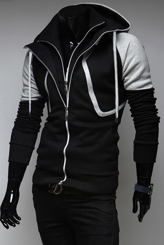 Patchwork Long Sleeve Zip-Front Men's Hoodie
