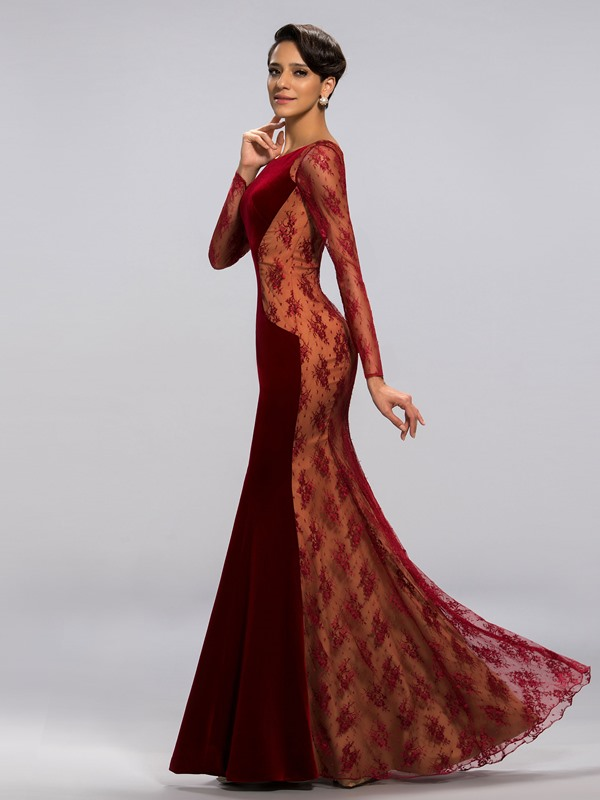 Vintage Velvet Long Sleeves Lace Evening Dress Designed