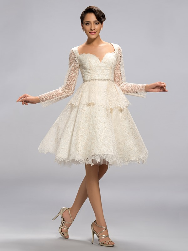 Eye-catching Sweetheart Long Sleeves Lace Knee-Length Formal Dress Designed