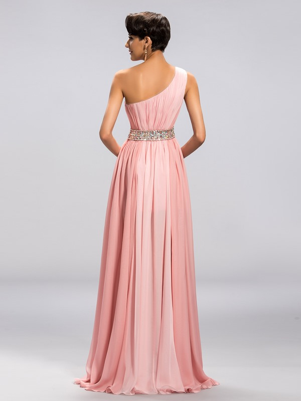 Smart A-Line One-Shoulder Beading Split-Front Long Prom Dress Designed