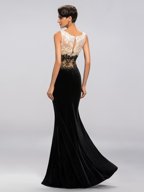 Velvet Appliques Sequins Split-Front Long Evening Dress Designed(Free Shipping)