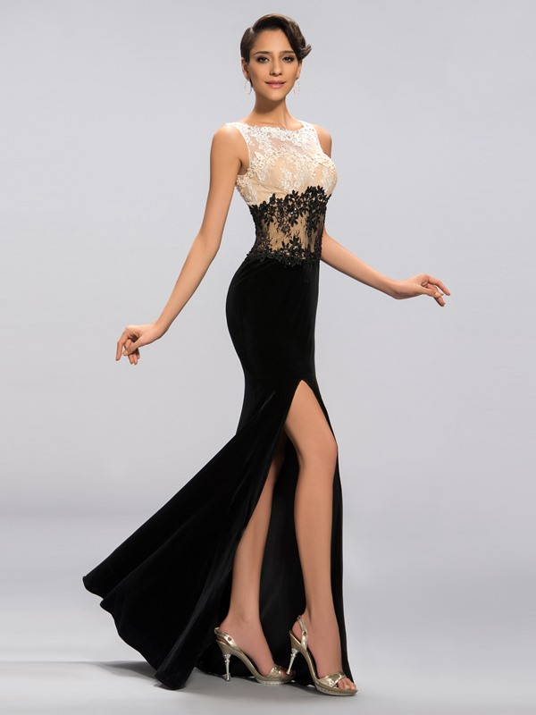 Elegant Appliques Sequins Split-Front Long Evening Dress Designed (Free Shipping)
