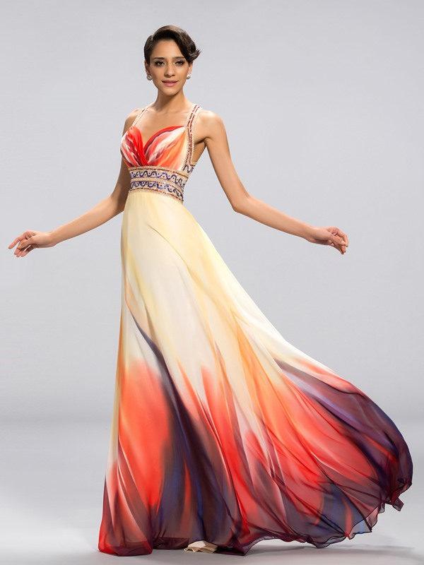 Attractive A-Line Sweetheart Straps Printed Long Evening Dress Designed(Free Shipping)