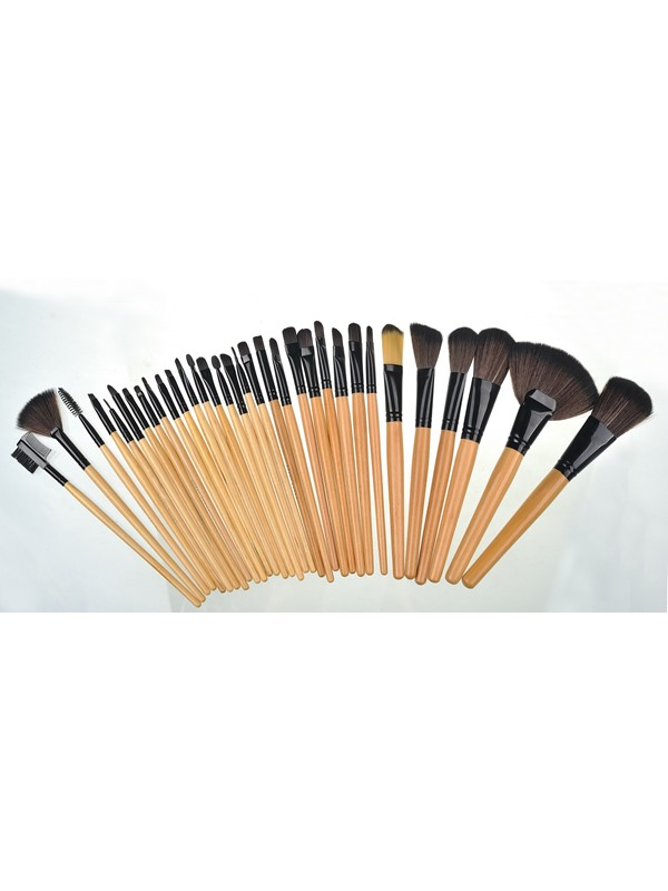 32 Pcs Wood Handle Artificial Fiber Cosmetic Brush Set