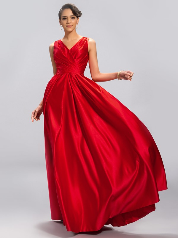 Simple Style V-Neck Pleats Straps -up Long Evening Dress Designed