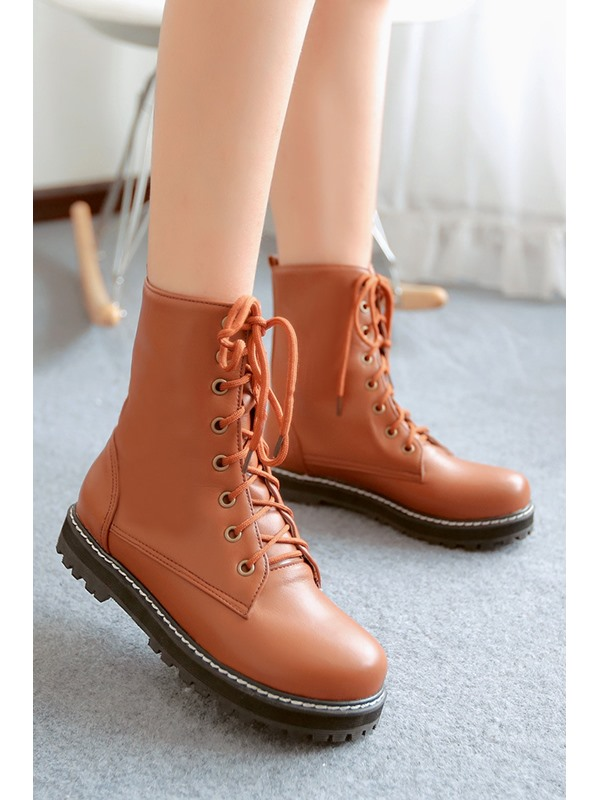 Solid Color Lace-Up Round Toe Martin Boots