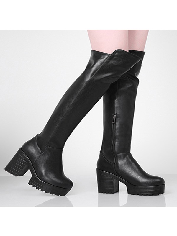 Chunky Heel Side Zipper Over-Knee Long Boots