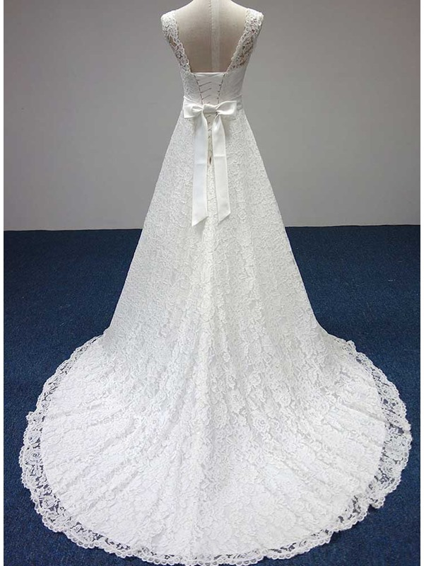 Simple Style Scoop Neck A-Line Floor Length Lace Wedding Dress(Free Shipping)