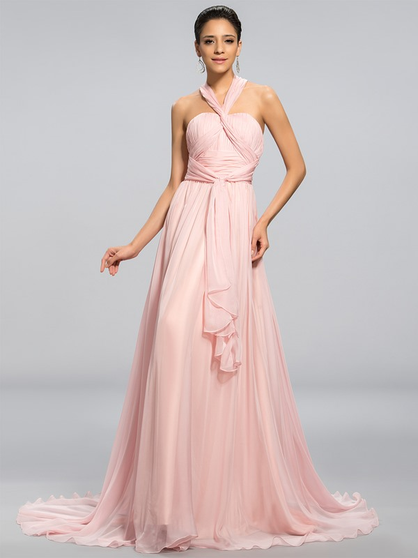 Simple Style Halter A-Line Pleats Sashes/Ribbons Long Prom Dress Designed