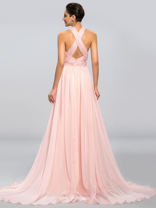 A-Line Pleats Sashes Long Prom Dress