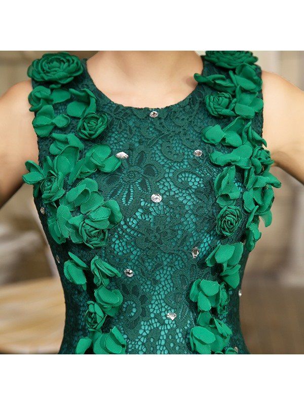 Dramatic Round Neckline Lace Beading Flowers A-Line Ball Gown Dress