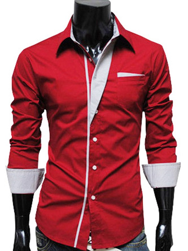 Lapel Color Block Casual Men's Shirt