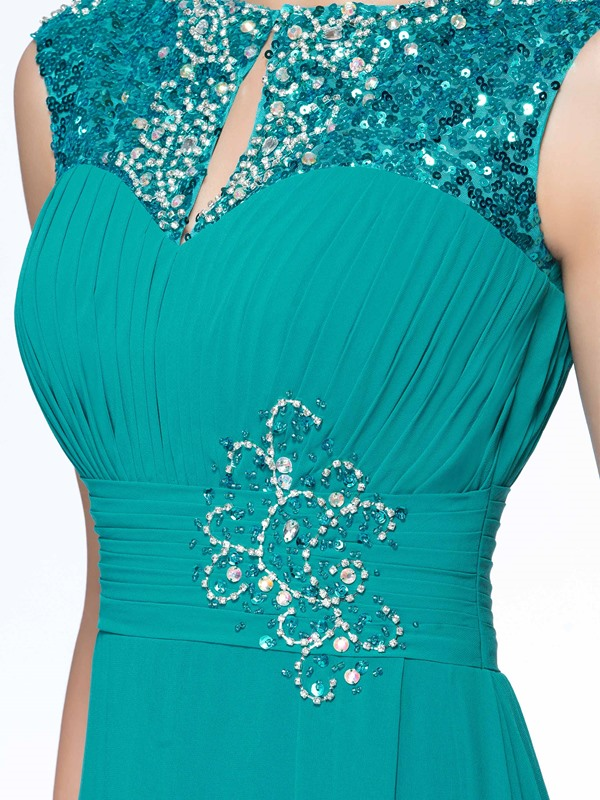 Modest Sequin Beaded Ruched Bodice Floor Length Mother of the Bride Dress