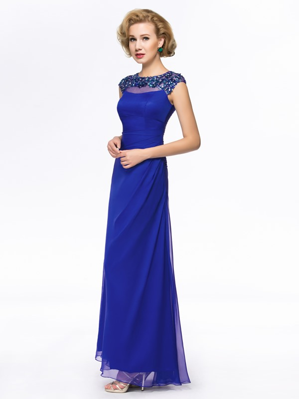 Beaded Jewel Neck Short Sleeve Blue Mother Of The Bride Dress(Free Shipping)