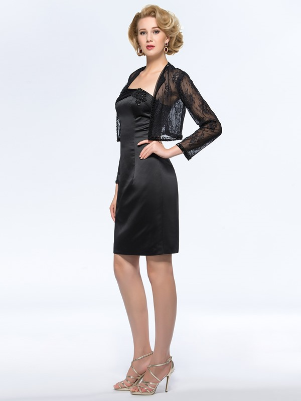 Strapless Sheath/Column Short Black Mother of the Bride Dress With Jacket/Shawl