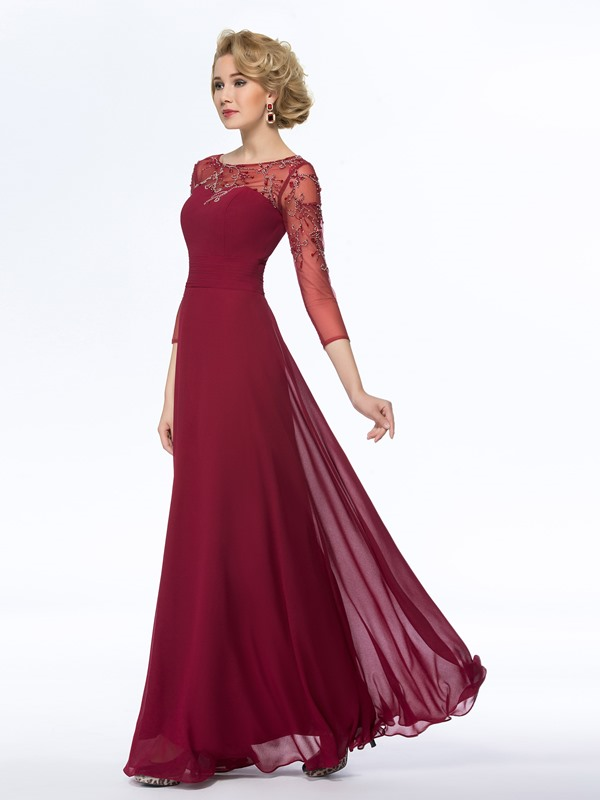 Bateau Neck Beaded Long Mother Dress with Sleeves(Free Shipping)
