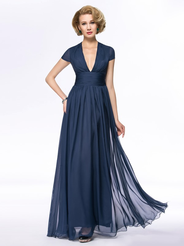 V-Neck Cap Sleeve Pleats Long Mother of the Bride Dress