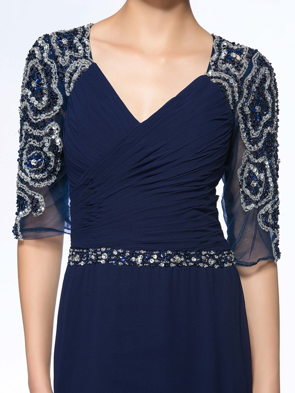 Vogue Beaded V-Neck Ruched Blue Long Mother of the Bride Dress with Sleeves