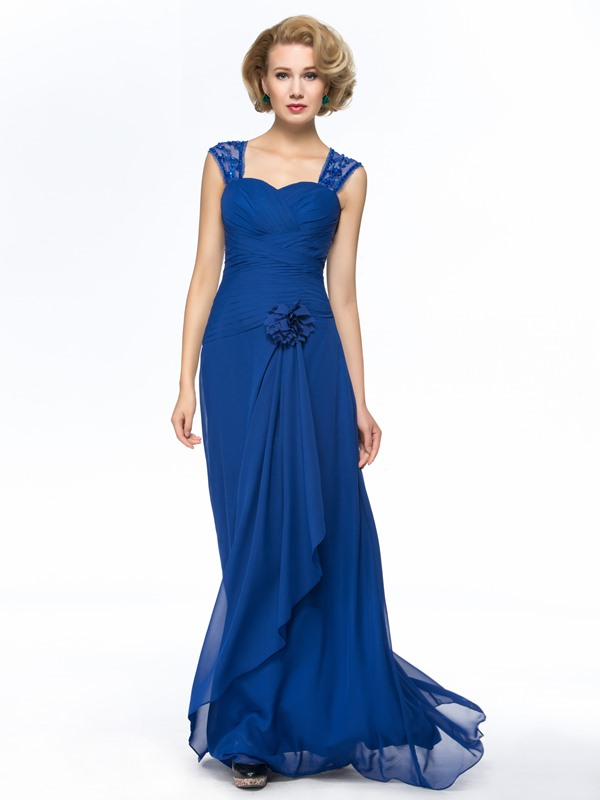 Sweetheart Cap Sleeves Ruched Beaded Blue Long Mother Of The Bride Dress