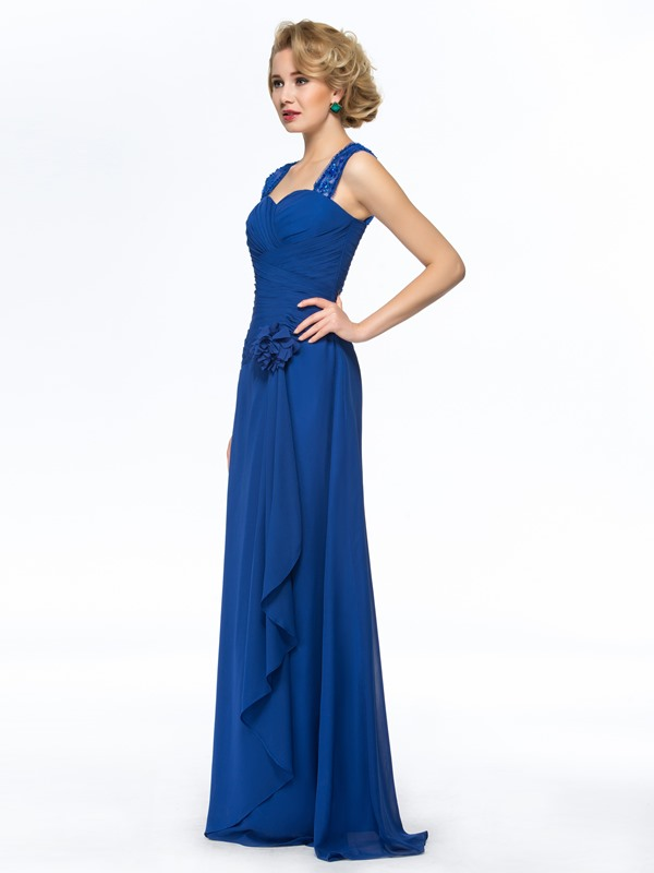 Sequins Appliques Pleats Sheath Mother of the Bride Dress