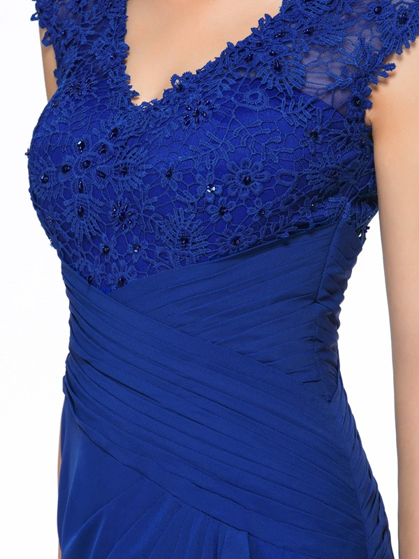 Beaded Lace V-Neck Blue Long Mother of the Bride Dress(Free Shipping)