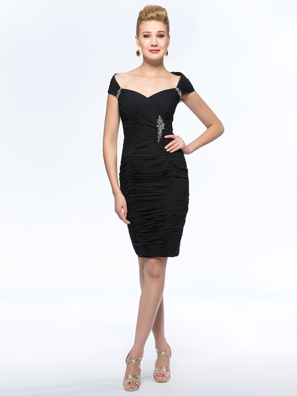 Sheath/Column Sensual Off-The-Shoulder Black Short Mother of the Bride Dress(Free Shipping)