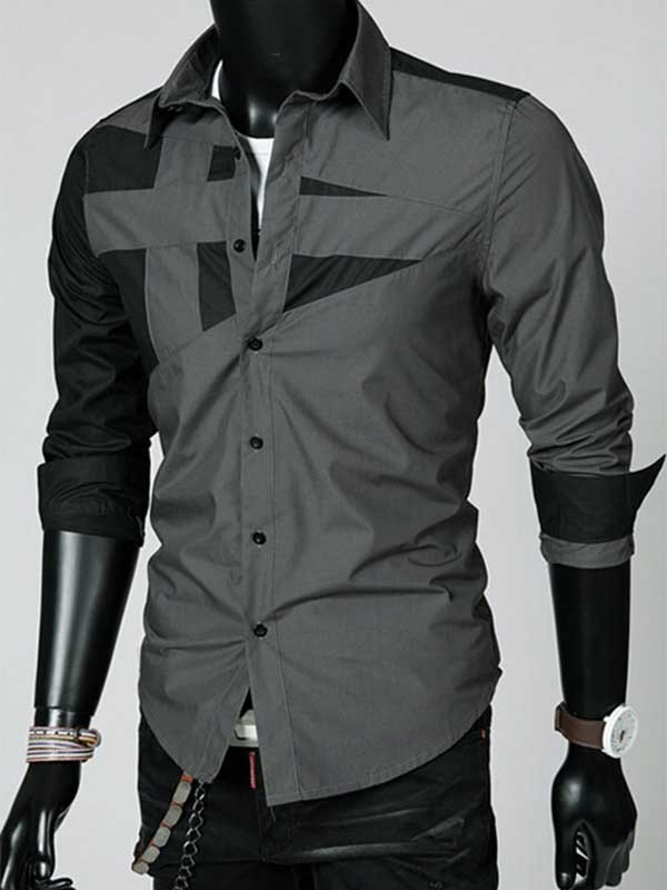 Lapel Patchwork Long Sleeve Shirt