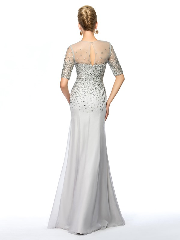 Illusion Neck Half Sleeves Sequined Beaded Sheath Mother of the Bride Dress