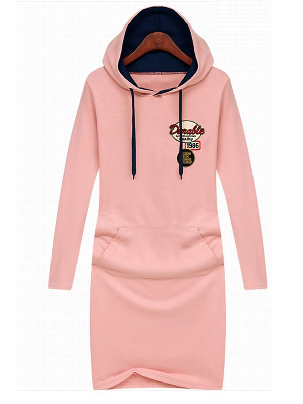 Solid Color Cap Long Sleeve Casual Dress