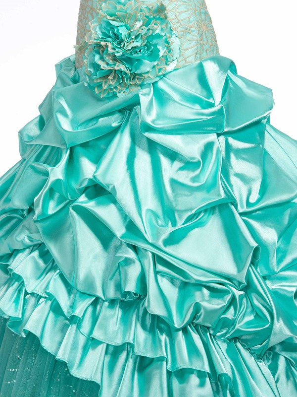 Sweetheart Embroidery Flower Tiered Lace-up Long Ball Gown/Quinceanera Dress