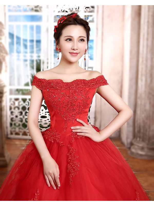 Dazzling Cathedral Train Off the Shoulder A-Line Appliques Wedding Dress(Free Shipping)