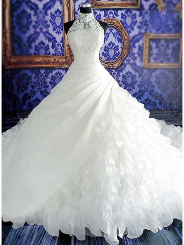 Stunning Beaded Halter Neck Tiered White Cathedral Wedding Dress(Free Shipping)