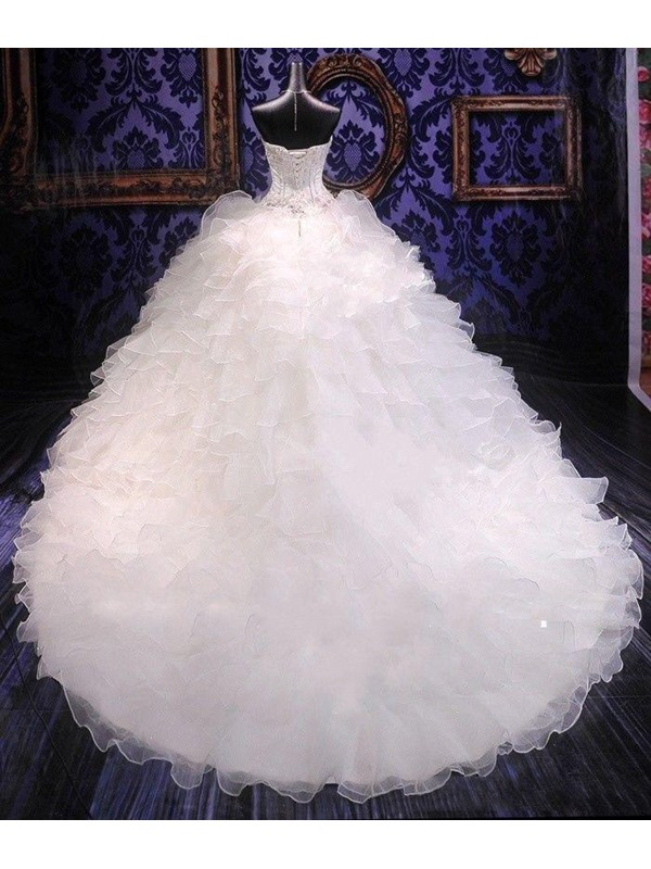 Beaded Sweetheart Tiered Ruffles Wedding Dress(Free Shipping)