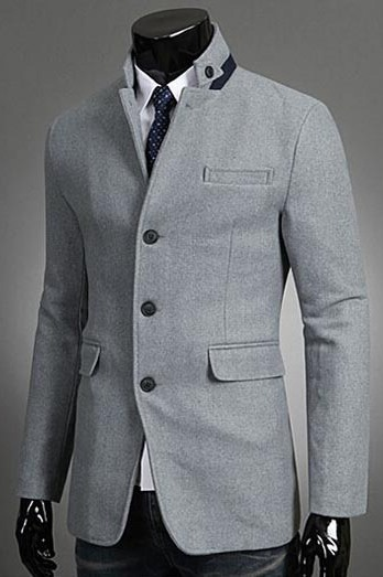 Pocket Three Button Casual Men's Overcoat