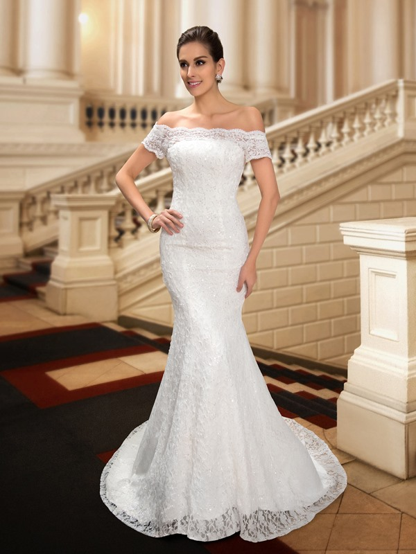 Dazzling Off the Shoulder Sequin Beaded Mermaid Lace Wedding Dress(Free Shipping)