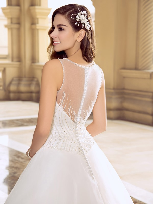 Eye-catching Button Sheer back Beaded Ball Gown Wedding Dress
