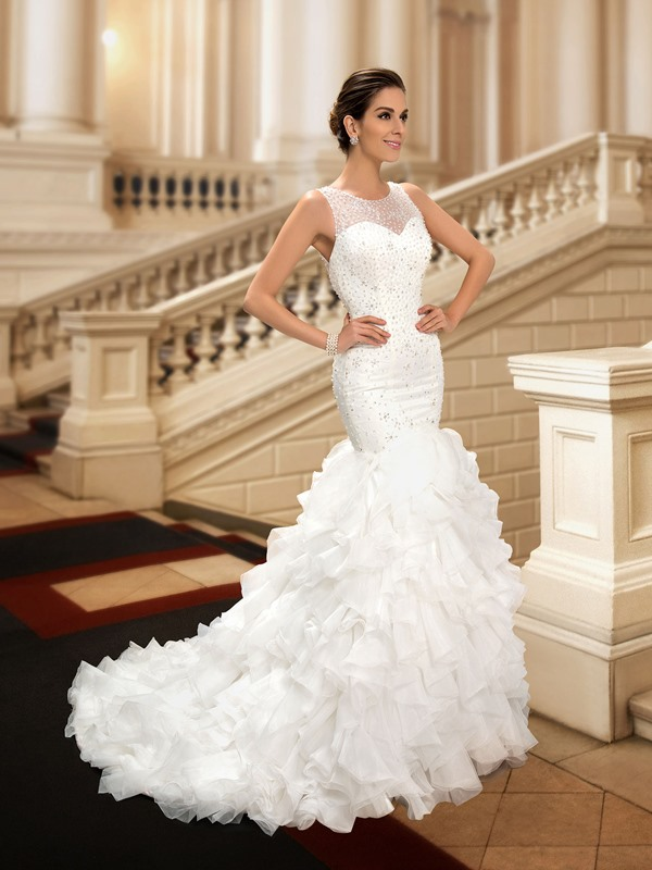 Beaded Jewel Neck Button Zip-up Mermaid Wedding Dress(Free Shipping)