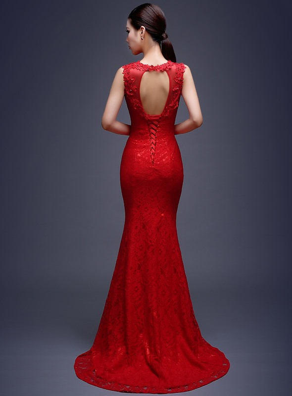 Delicate Mermaid Lace Sequins Sweep Train Lace-up Long Evening Dress