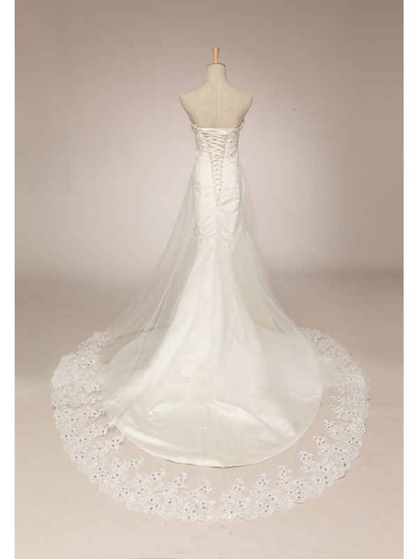 Dazzling Beaded Strapless Mermaid Lace Wedding Dress(Free Shipping)
