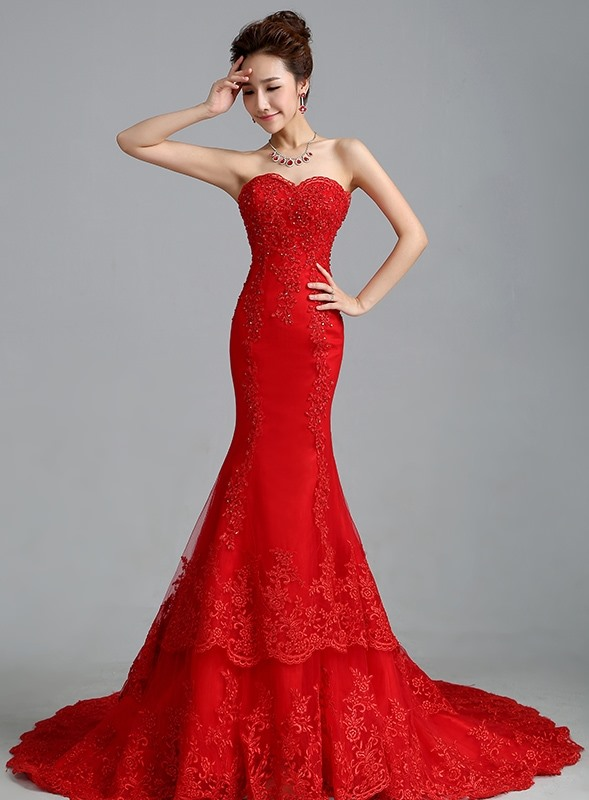 Beaded Appliques Mermaid Red Wedding Dress