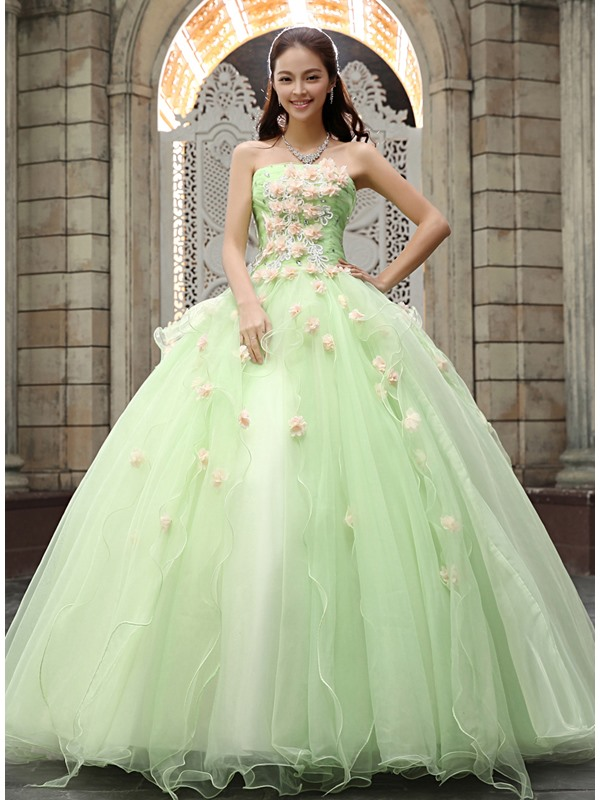 Strapless A-Line Flowers Beading Quinceanera Dress