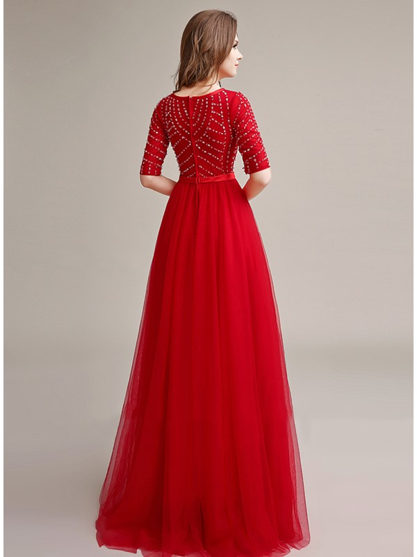 Bright Bateau Neckline Beading Bowknot Half Sleeves Long Evening Dress