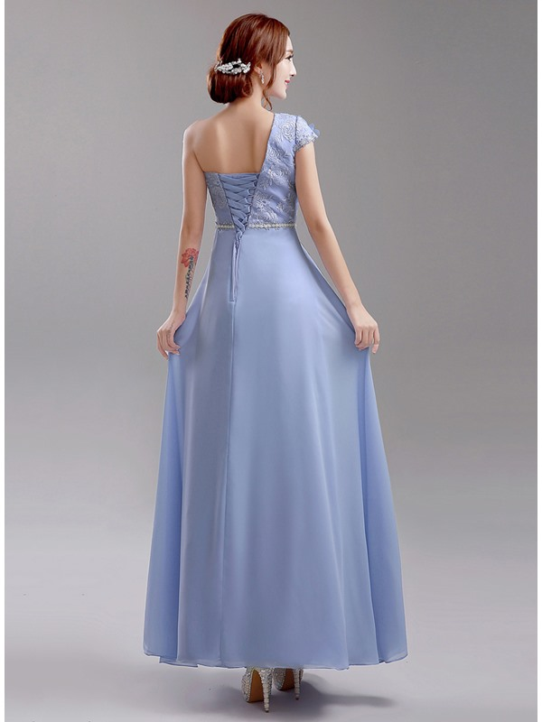 Unique Floor Length Floral One Shoulder Blue Bridesmaid Dress