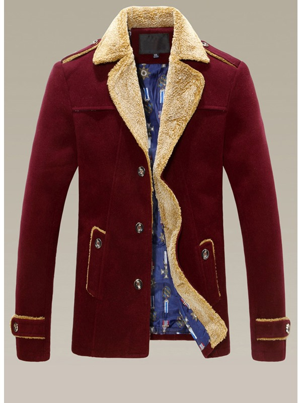 Lapel Fur-Decorated Single-Breasted Long Sleeve Overcoat