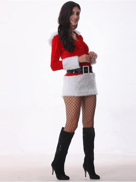 Red Belt Fur Decorated Long Sleeve Christmas Costume