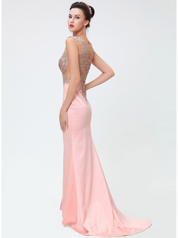 Elegant Tulle Neckline Trumpet Beading Appliques Split-Front Long Evening Dress